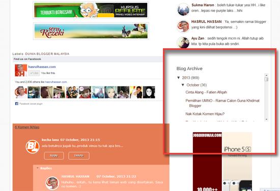 Cara buat Skroll Bar Pada Arkib Blog