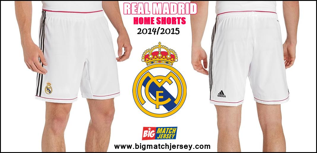 Kit Shorts atau Celana Bola Grade Original Official 2014-2015 Real Madrid White Pink Away