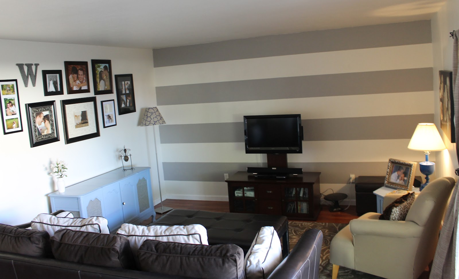 ... wide horizontal stripes (tutorial here) to try and hide the humongous  blank wall taking over our living room. In hindsight I think the stripes  made the ...
