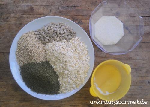 Zutaten für Müsliriegel mit Brennnesselsamen