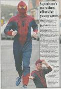 Coverage in local press of my Spiderman run in Bath Half raising money for . spiderman warwickshire telegraph story