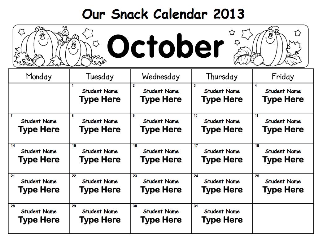 Snack Calendar Printables : Mrs solis s teaching treasures snack calendars