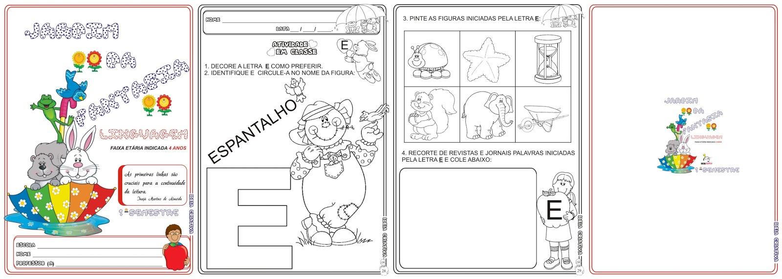 Excepcional Caderno de Atividades Linguagem Jardim da Fantasia 1º Semestre  YX16