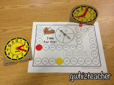gwhizteacher, math games, time for pie, thanksgiving math games for first grade