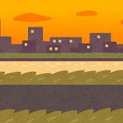 夕方の土手のイラスト(背景素材)