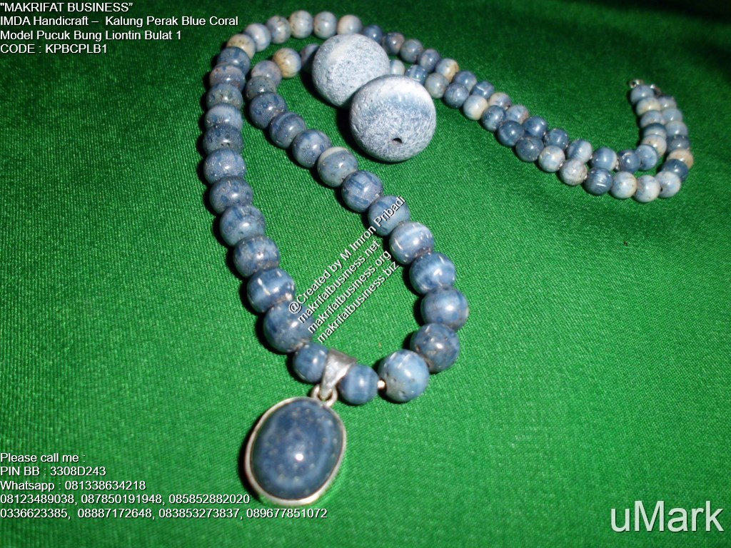 Handicraft Kalung : Kalung Perak Batu Blue Coral Model Pucuk Bung ...