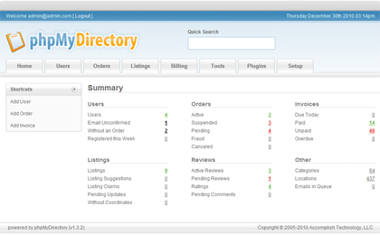 phpMyDirectory - Web Portal, Business Directory, Classifieds, Link Indexing