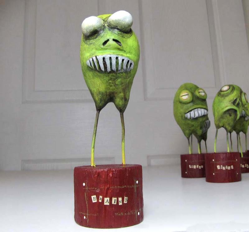 Zombie Easter Egg art sculpture by Fishstikks