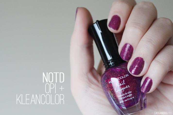 NOTD // OPI Pamplona Purple + Kleancolor Chunky Holo Purple - cassandramyee