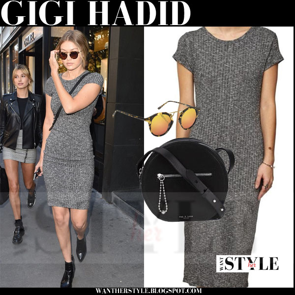 GIgi Hadid in grey ribbed dress with black ankle boots models off duty what she wore