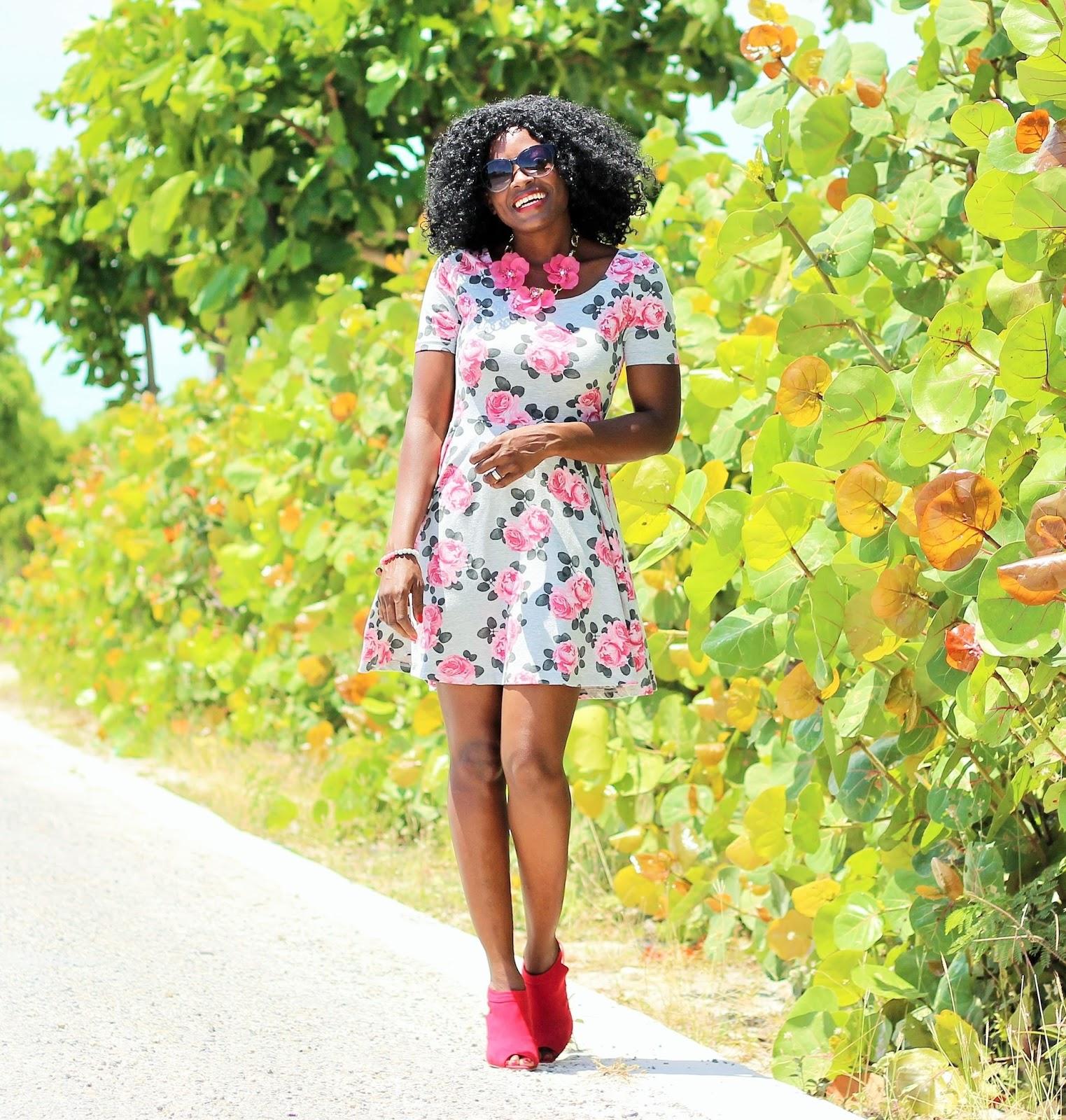 H&M Floral Print Skater Dress