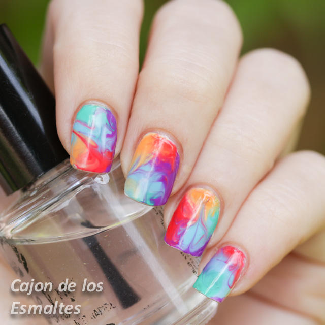 Decoración de uñas con marmolado en seco, Dry o Drag marble nail art ...