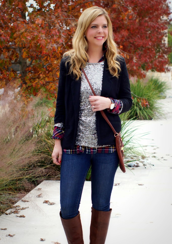 Fashion Layering ideas for Fall and Winter Sequins and Plaid