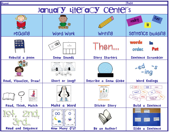 Ambitious image with regard to printable literacy centers first grade