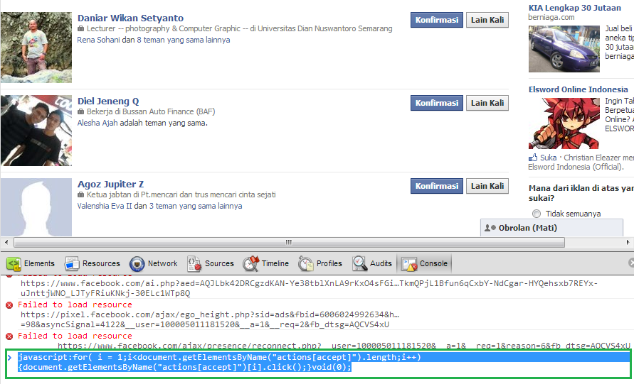 Auto Accept Pertemanan di Facebook - Google Chrome