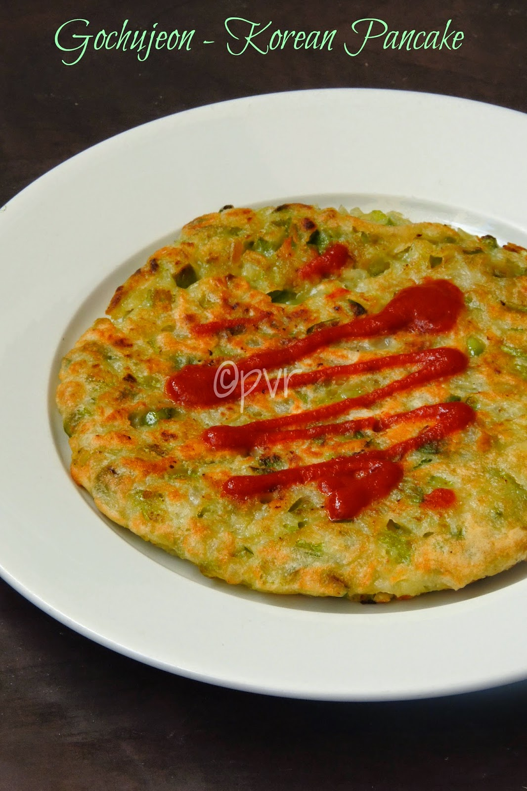 Korean Green chilli pepper pancake, Gochujeon,Eggless korean pancake