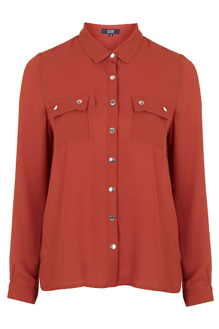goldie red blouse, red shirt topshop, pop shirt red,