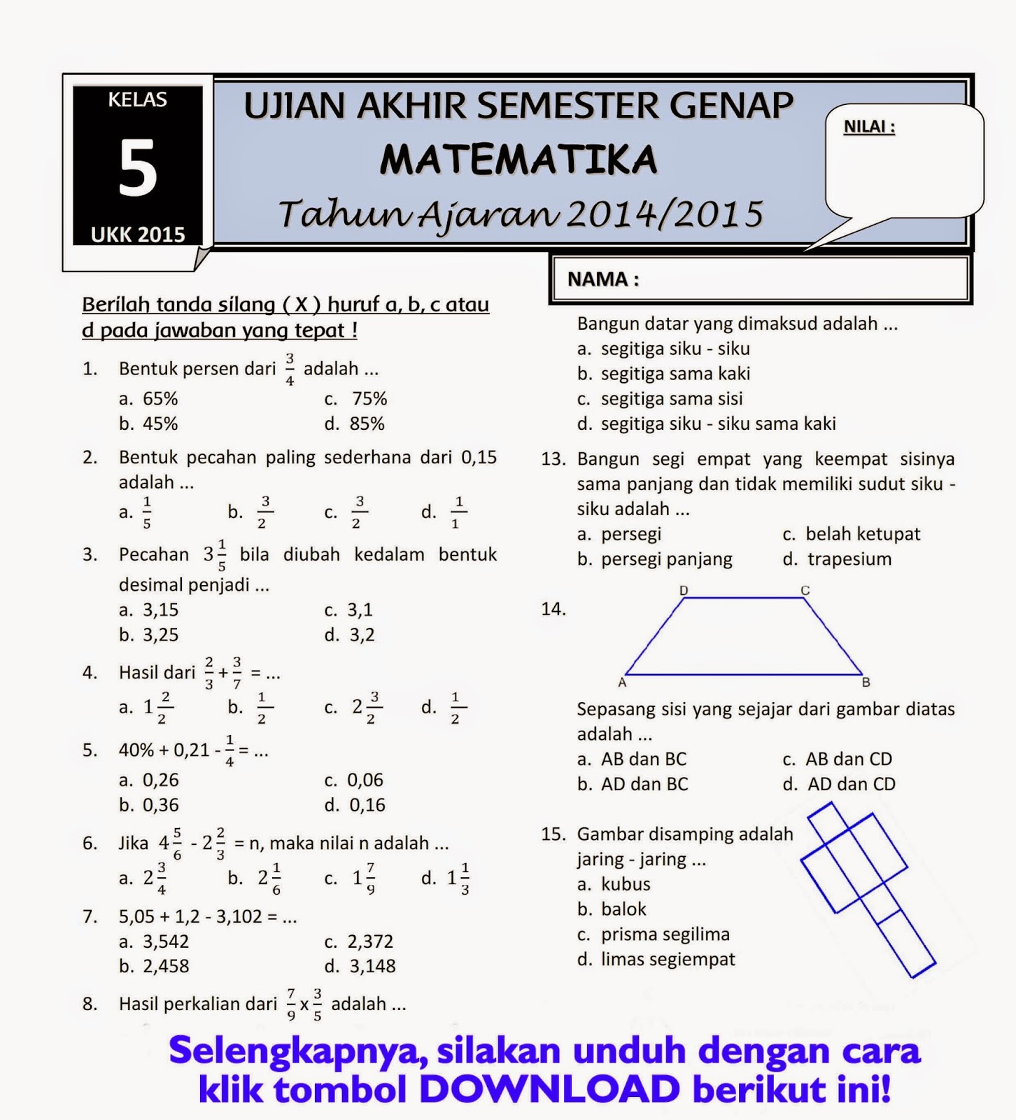 Download Pelajaran Matematika Kelas Sd Download Lengkap