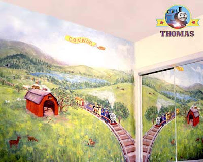 Thomas and friends themed train mural decor colours displayed across forty winks wonderland walls