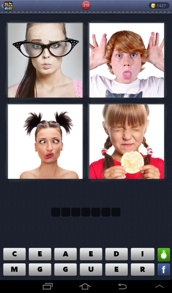 4 Pictures 1 word answers and help: GRIMACE