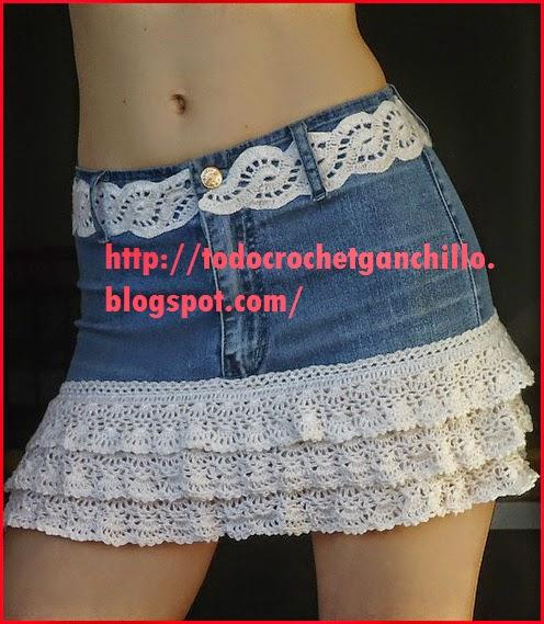 Pollera de adolescente reciclada en jean y crochet