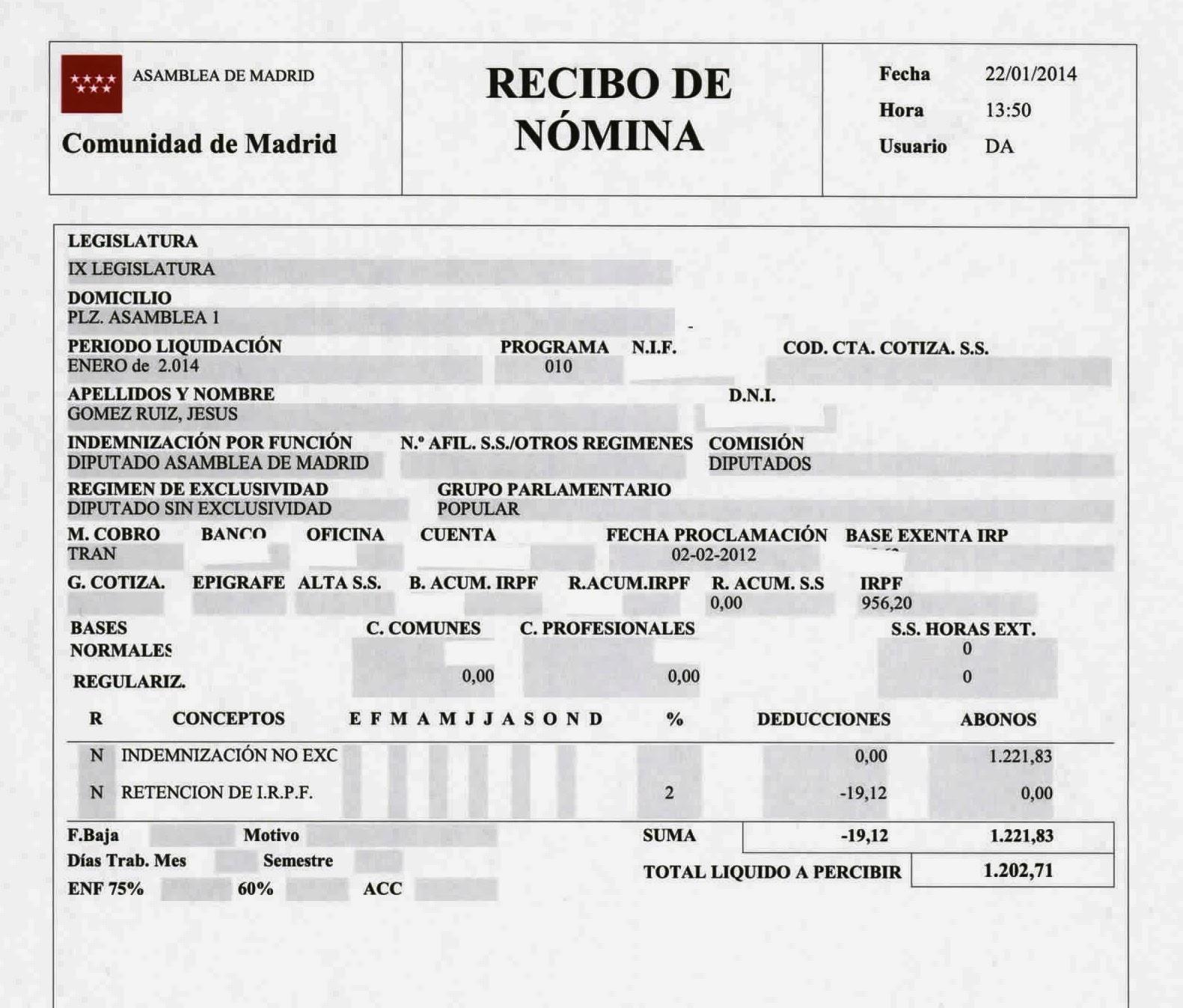 La asamblea de madrid publica la n mina del 2 sueldo del Formato de nomina para pago de sueldos