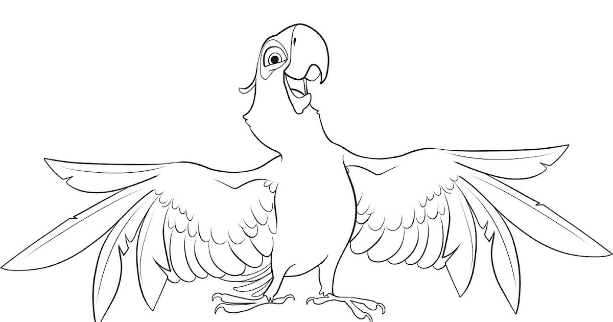 Coloring Activity Pages Blu the Blue Macaw from quot Rio