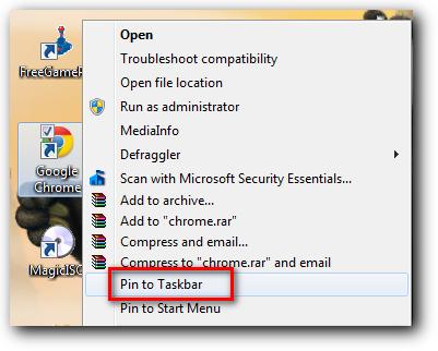 Pin Program di taskbar