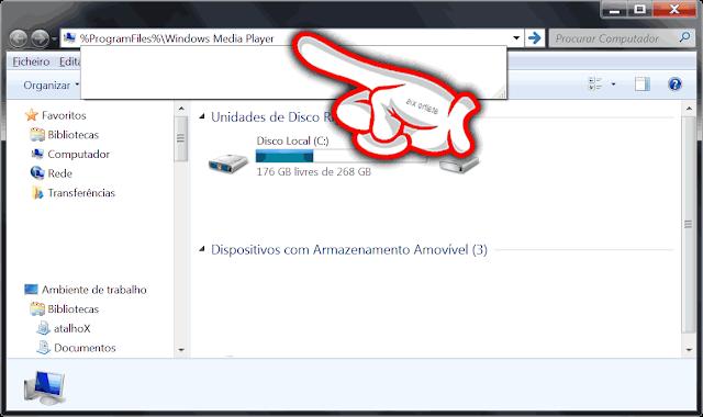 localização na barra de endereços do Explorer para a pasta do Windows Media Player