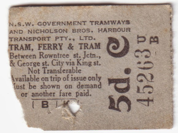 Sydney multi-modal tram and ferry ticket from 1945