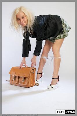 Sexy Blonde Schoolgirl losing her knickers