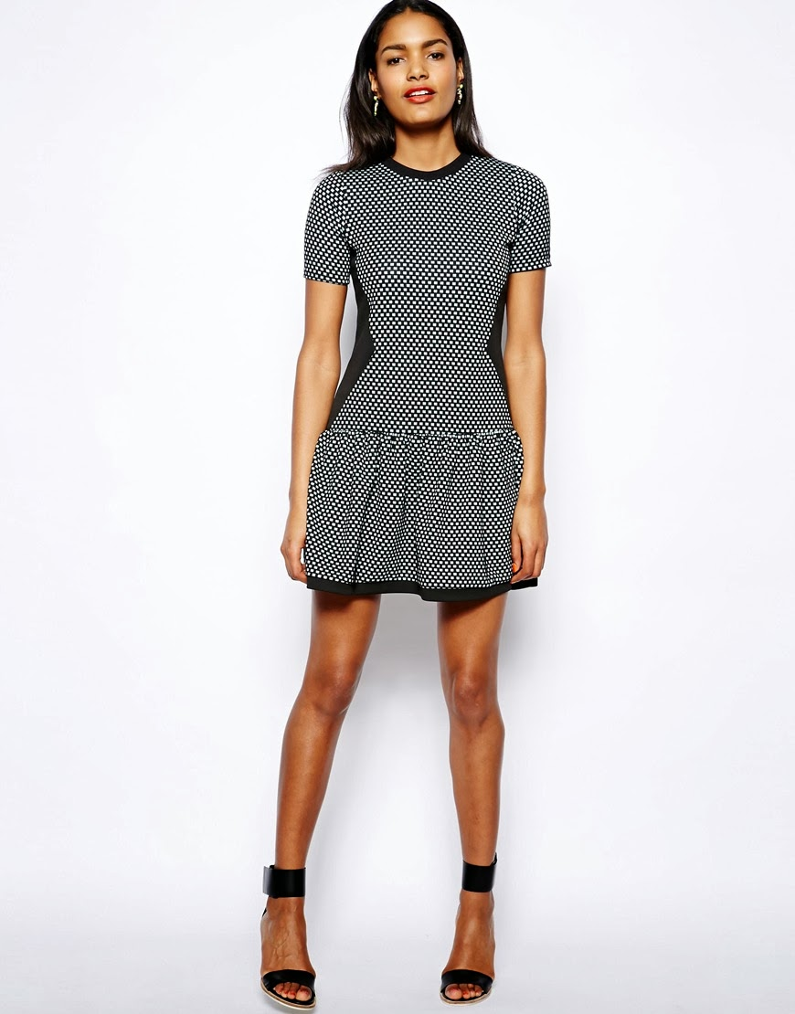 river island black print dress