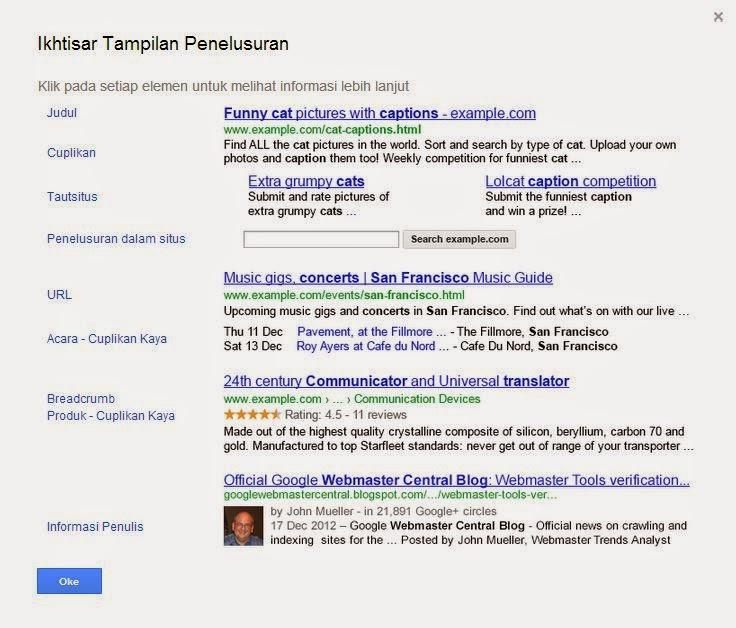 tampilan penelusuran google