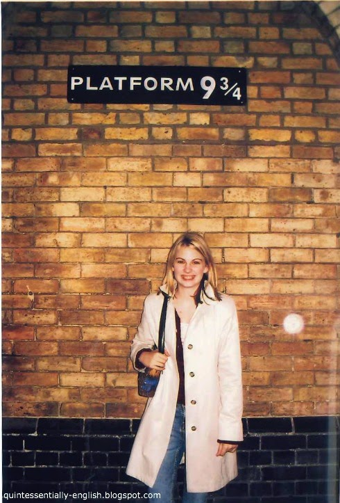 Harry Potter's Platform 9 and 3/4 at King's Cross Station in London, England