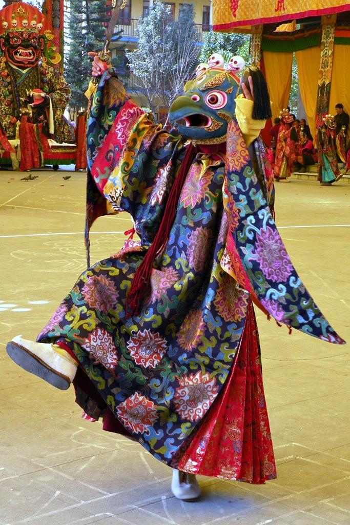 Masked cham dancer during Gutor celebrations, Nepal