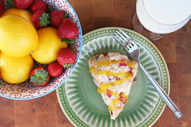 Strawberry Lemonade Scones with Meyer Lemon Curd ohsweetbasil.com