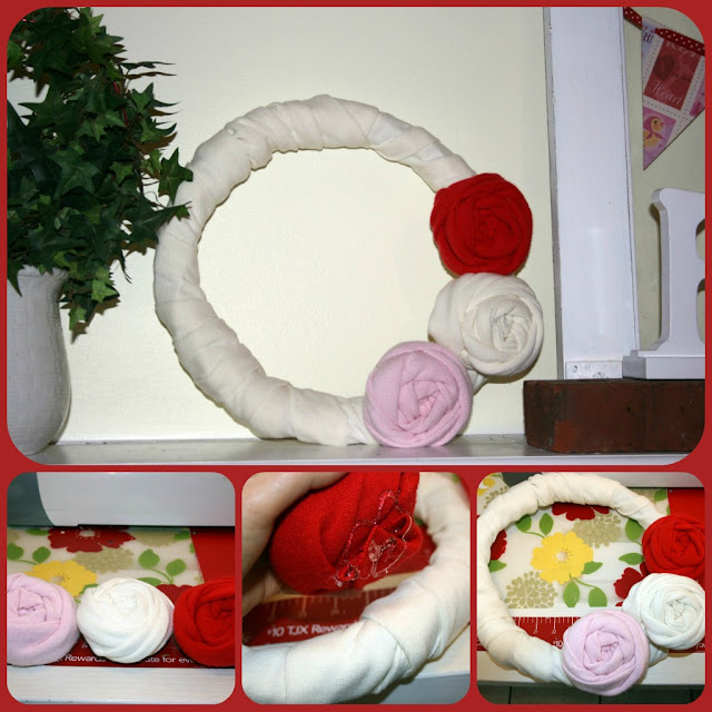 red, pink and white valentine's day wreath
