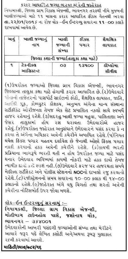 Jilla Gram Vikas Agency, Bhavnagar Technical Assistant Recruitment 2016