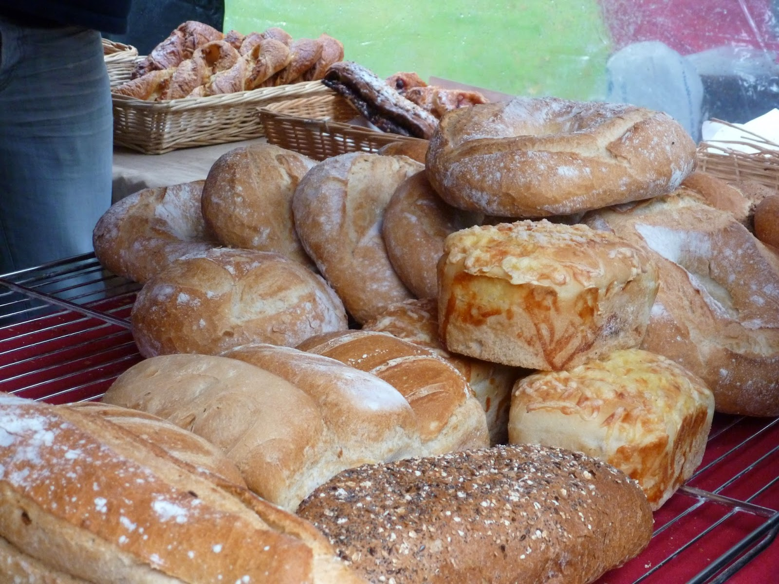 Farmers market stall fresh bread