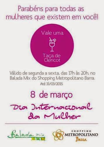 Shopping Metropolitano Barra homenageia as mulheres com uma taça de Clericot