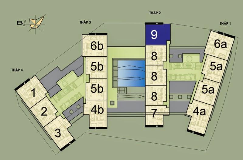Vị trí căn hộ CH9 - 164m2 trên mặt bằng căn hộ Dolphin Plaza