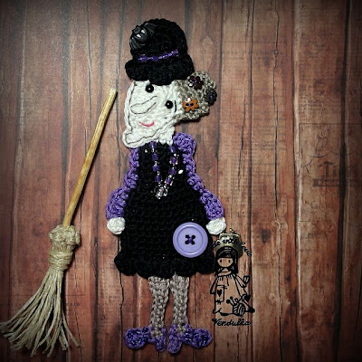 Magic with hook and needles, crochet patterns, witch brooch, crochet by Vendulka, VendulkaM crochet, halloween,