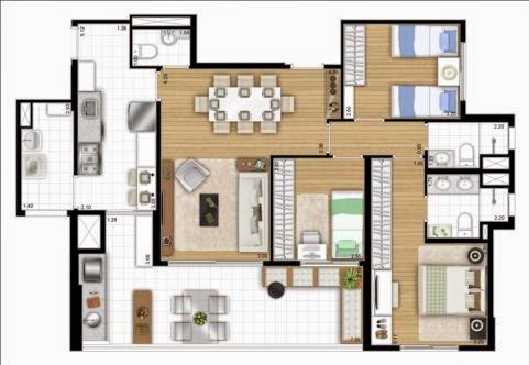 planta apartamento aclimação 3 dormitórios