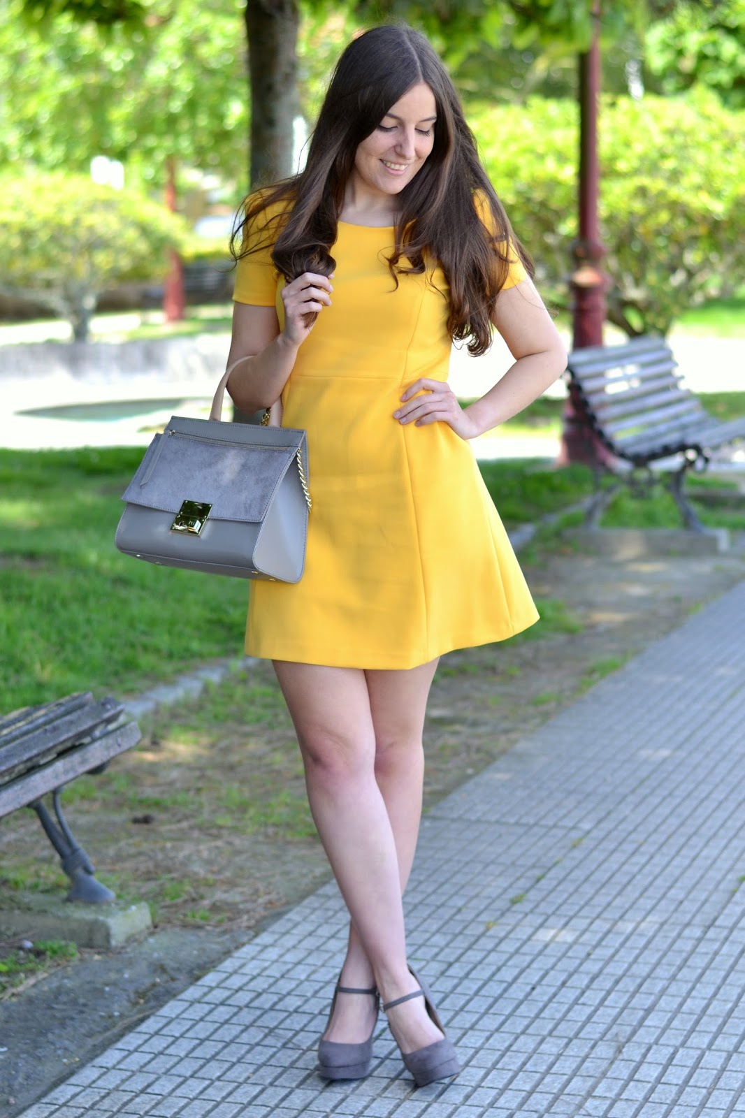 zara yellow dress ss15