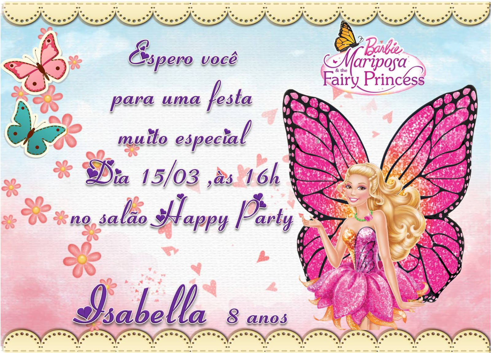 CONVITE BARBIE MARIPOSA E THE FAIRY PRINCESS