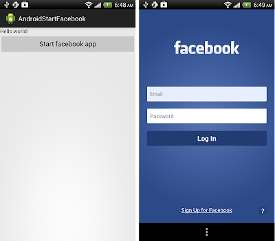 Start facbook app by startActivity(intent)
