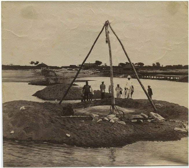 Railway Bridge Construction in India - c1890's