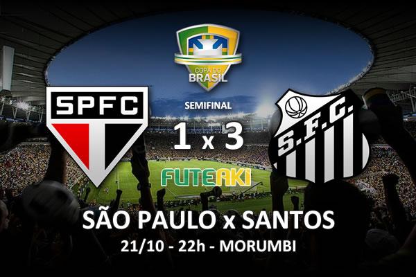 Veja o resumo da partida com os gols e os melhores momentos de São Paulo 1x3 Santos pela Semifinal da Copa do Brasil 2015.