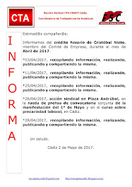 C.T.A. INFORMA CRÉDITO HORARIO CRISTOBAL NIETO, ABRIL 2017