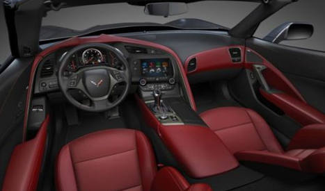 red upholstery in interior of 2014 chevrolet corvette C7 convertible